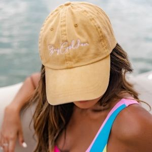 Pink Lily NEW Stay Golden Yellow Baseball Cap